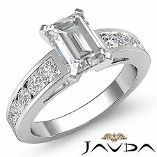 Mujer Esmeralda Diamante Canal Anillo de Compromiso GIA F SI1 14k Oro Blanco