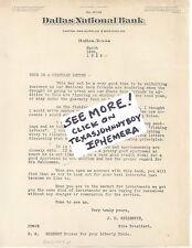 1925 NATIONAL BANK DALLAS TEXAS COCKRELL GILLESPIE CARNES TENISON JESTER GLIDDEN