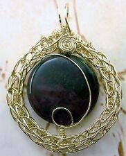 Bloodstone Gemstone Pendant 14k Gold gf Viking Knit