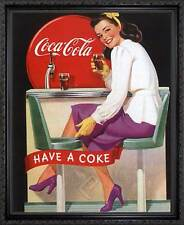 Coca-Cola: Have a Coke. Framed Vintage 50s Pin-Up Style AD Poster. Black Frame