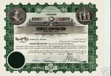 PEOPLES CORPORATION VIRGINIA BEACH old stock certificate dd 1970s