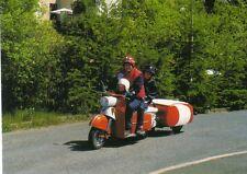 """Postcard: Motorroller """"Troll"""" mit Einradanhänger """"Camp"""" beim IFA-Festival 2001"""
