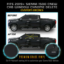 Fits 19+ GMC Sierra 1500 Crew Cab Window Chrome Delete Blackout Kit Matte Black