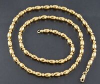Vintage 14K 14Ct Gold Bead Design Chain Necklace by MIDAS, 19 3/4''