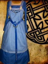 Viking Norse Sca Garb Medieval Costume Blue On Blue Linen Bld Apron CtnKirtle Xl