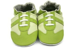 Kidzuu Soft Sole Baby Leather Crib Shoe - Green Sneaker with Light Green accents