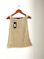 Complicita Italy Women's Large Tan Beige Tank Top Crochet Knit Sheer Shirt NWT