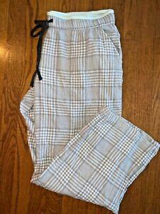 Sonoma Intimates Pajamas Comfy Lounge Plaid Glitter Grey Pinstripe Sz L ❤️tw11j1