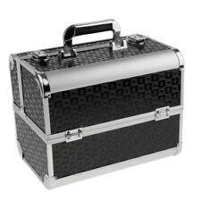 Black Aluminum Makeup Train Case Jewelry Box Cosmetic Organizer Lockable