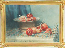 ETHEL SANDERS (1899-1985) RARE watercolour Pomegranates Margaret Olley Flockton