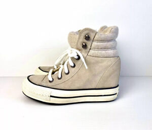CONVERSE Chuck Taylor Suede Taupe Hidden Heel Wedge Sneakers Shoes US 5.5 UK 3.5