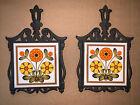2 Vintage Cast Iron Ceramic Tile Footed Trivet w/Orange Yellow Floral Transfer