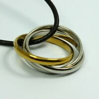 STAINLESS STEEL Triple Ring PENDANT ~BONUS Leather Cord or Ball Chain NECKLACE~