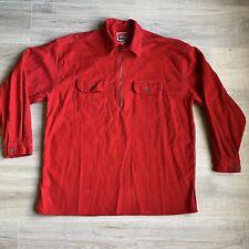 Malboro Unlimited Red Corduroy 1/2 Zip Pullover Long Sleeve Men's Sz Large L Vtg