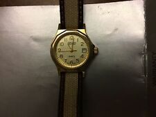 Gruen ladies gold watch precision quartz, Swiss movt new battery, leather band
