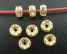 5mm Gold Plated CLEAR Rhinestone Crystal Spacer Rondelle Beads 10 pieces bme0077
