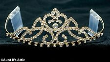 Tiara Gold Metal & Rhinestone Princess Queen Or Debutante Costume Headpiece OS