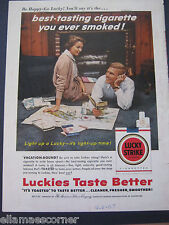 Vintage 1957 Lucky Strike Cigarettes 8.5 by 11 Inches Print Ad