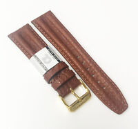 AlfaUSA Original Leather Genuine Anti-Allergic22mm Brown Gold Buckle Watch Band