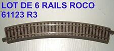 61123  6 RAILS ROCO COURBES R3  NEUFS ISSUS DE COFFRET