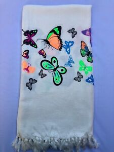 Turkish Pareo Beach And Bath Towel Peshtemal  Natural Printed Viskose Cotton M-5