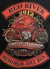 BIKERS CLUB~2XL BLACK W/RED DENIM 100% COTTON~SLEEVELESS SHIRT~RED RIVER 2012
