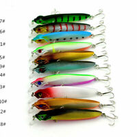 10pcs Fishing lures Swim Baits Luminescent Bionic Bait Fish 4# Hook 10cm/7.9g#