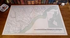 Large Original Antique Civil War General Topographical Map SOUTH NORTH CAROLINA