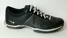 Nike Womens 9 Med Leather Golf Black Gray TaC Soft Cleats 335938 001 Sport Shoes