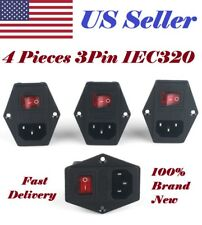 4pcs 3Pin IEC320 C14 Inlet Module Plug Fuse Switch Male Power Socket 10A 120V