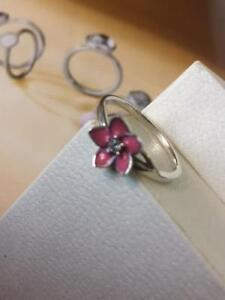Orchid Bloom STERLING SILVER solid 925 Stack Ring Flower Pink Enamel Size 6 7 8