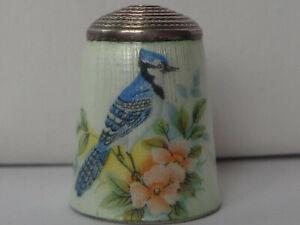 Lovely Vintage J. Swann & Son Silver Enamel Thimble, Bird Decor, Birmingham 1981