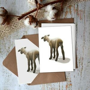 Lamb Note Cards, Set of 8, WATERCOLOR stationary -Blank- Farm Animals, Greeting