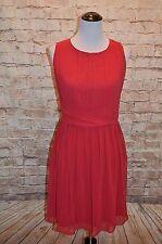 Modcloth One Moment, Pleats Dress cranberry  NWT S Chiffon  Pleated bodice waist