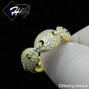 MEN WOMEN 925 STERLING SILVER ICY DIAMOND SILVER/GOLD MARINER LINK RING*SR108