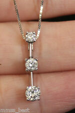 Kay New 14K 1/2ct 3Stone Journey PPF Diamond Pendant Necklace White Gold Chain