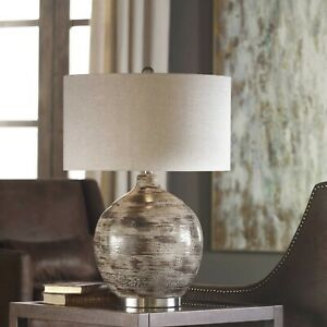 "TAMULA URBAN 28"" TEXTURED CERAMIC TABLE LAMP BRUSHED NICKEL METAL UTTERMOST"