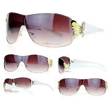 BUTTERFLY Shield Style Women's Fashion Sunglasses GOLD Yellow WHITE