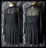 Goth Black Lace HEARTBROKEN High Neck Tea Dress 16 18 Victorian Romantic Vintage