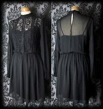 Pizzo nero gotico il cuore spezzato Collo Alto Tea Dress 6 8 Vittoriano romantico VINTAGE