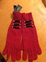 Womens RALPH LAUREN Red Wool Blend Gloves With Design  #9KK
