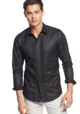 NWT Guess Leather Coated Tux Black Dress Casual Shirt Long Sleeve Button Down M