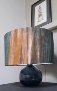 Lampshade Drum  Abstract   waves teal  ochre handmade  Pendant Floor Lamp large