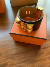 Hermes CDC Collier De Chien Cuff Bracelet Black With GHW Small Adjustable