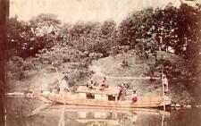 Tinted Albumen image c1880's Japan River transport boat punting young ladies