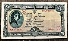 IRELAND £ 1 POUND LADY LAVERY of 1941 with WAR CODE 'B' (WWII) PICK # 2C CIRC