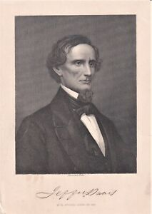 JEFFERSON DAVIS Confederate President Whitechurch stipple engraving c. 1865