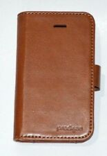 Prodigee Case Cover For iPhone 4 4S Folio Card Wallet Authentic Brown Leather