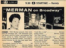 1959 TV AD'S~ETHEL MERMAN ON BROADWAY~TAB HUNTER~FESS PARKER~TOM POSTON~STARTIME