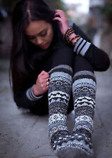 Natural Grey and White Hand Knitted Knee High Socks